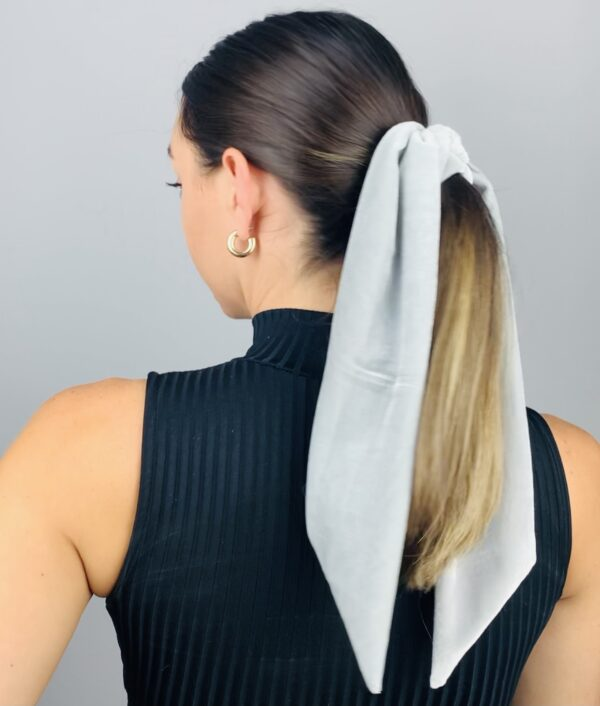 Lila Grey Velvet Hair Tie