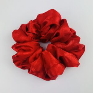 Lila Red Satin Scrunchie