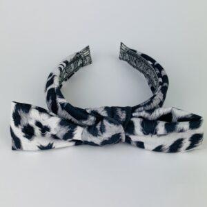 Lila Grey Leopard Bow Headband