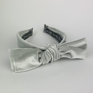 Lila Grey Velvet Bow Headband