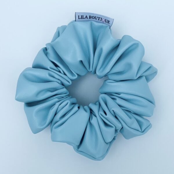 Lila Baby Blue Leather Scrunchie