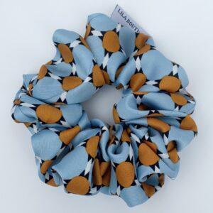 Lila Blue Tan Scrunchie