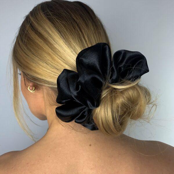 Lila Black Satin Scrunchie