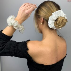 Lila Ivory Satin Scrunchie