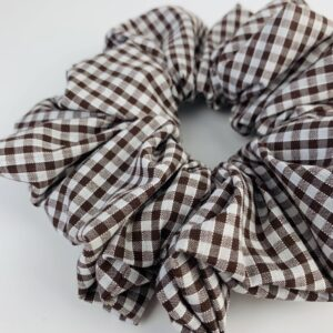 Lila Brown Gingham Scrunchie