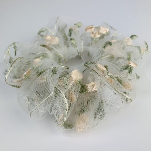 Lila Floral Tulle Scrunchie