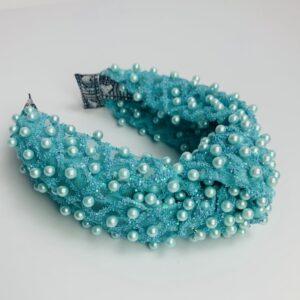Lila Aqua Pearl Turban Headband