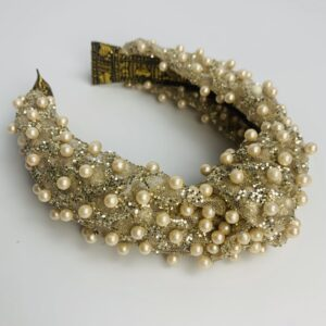 Lila Gold Pearl Turban Headband