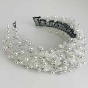 Lila White Pearl Turban Headband