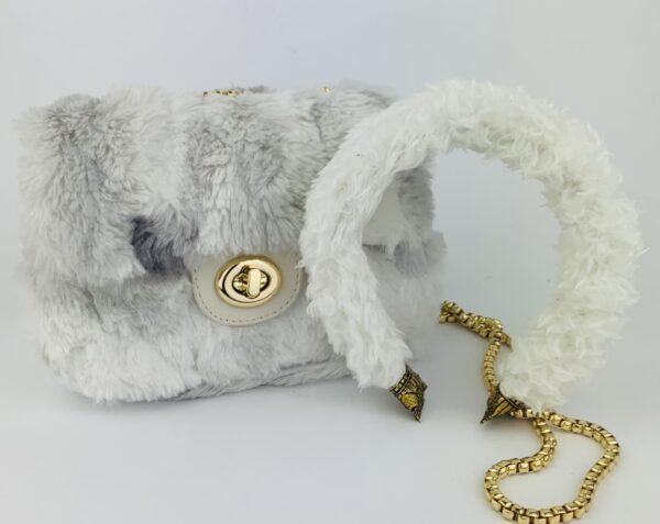Lila White Teddy Bag & Headband Set