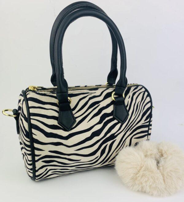 Lila Zebra Bag & Scrunchie Set