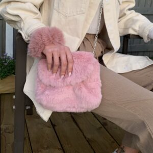 Lila Pink Fluffy Bag & Scrunchie Set