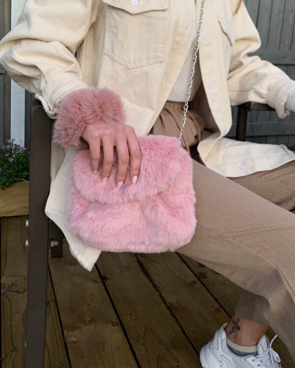 Lila Pink Fluffy Bag & Scrunchie Set