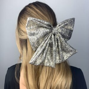 Lila Metallic Gold Bow Hair Clip