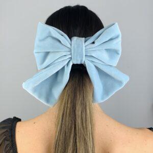 Lila Baby Blue Velvet Hair Clip