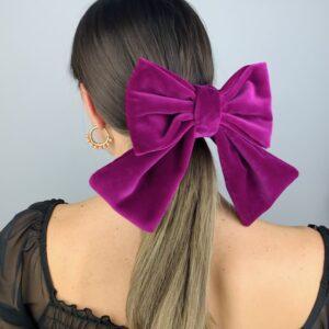 Lila Plum Velvet Hair Bow Clip
