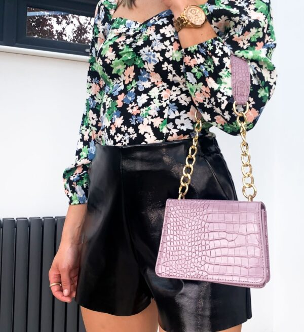 Lila Lilac Croc Handbag
