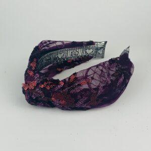 Lila Purple Glitz Turban Headband