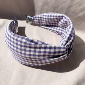 Lila Purple Gingham Twist Headband