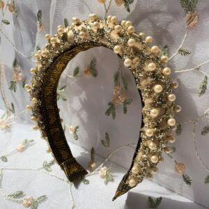 Lila Gold Pearl Padded Headband