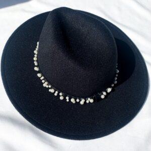 Lila Black Pearl Fedora Hat