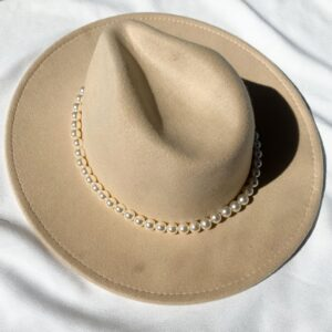 Lila Nude Pearl Fedora Hat