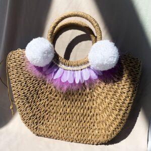 Lila Lilac Feather Beach Bag