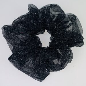 Lila Black Mesh Sparkle Scrunchie