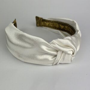 Lila Ivory Satin Turban Headband