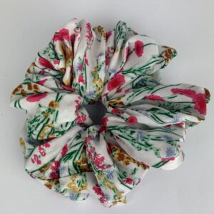 Lila White Floral Scrunchie
