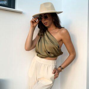 Lila Khaki Satin Multiway Heasdscarf