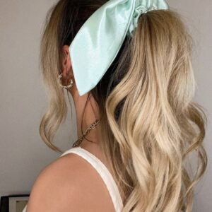 Lila Mint Satin Short Scrunchie Tie
