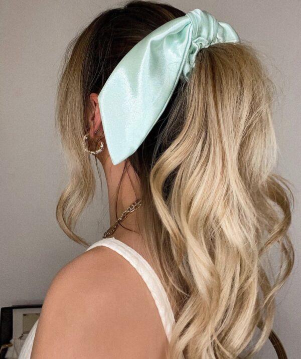 Lila Mint Satin Short Scrunchie Tie
