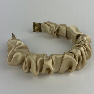 Lila Champagne Satin Ruffle Headband