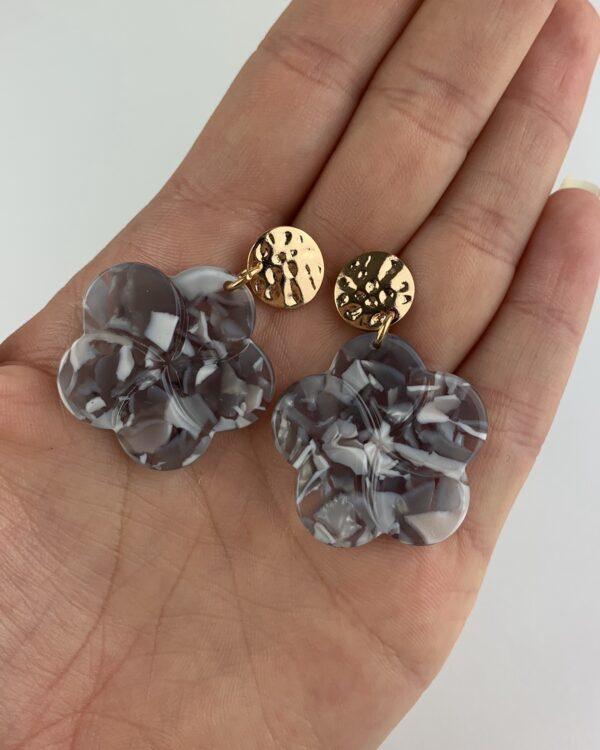 Lila Grey Marble Flower Earrings