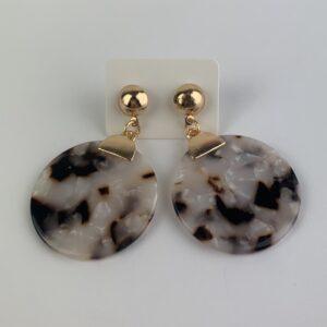 Lila Marble Disk Earrings