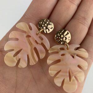 Lila Monstera Leaf Earrings