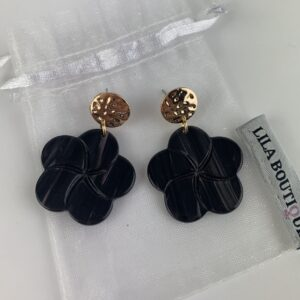 Lila Black Marble Flower Earrings