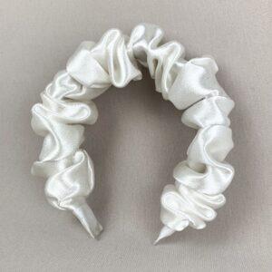 Lila White Satin Ruffle Headband