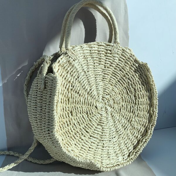 Lila Cream Circle Straw Bag