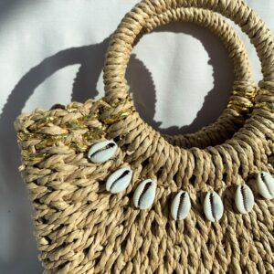 Lila Shell Straw Mini Bag