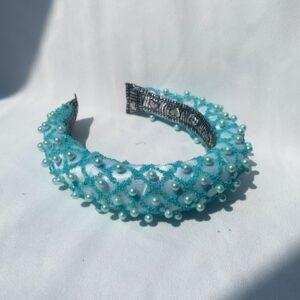 Lila Aqua Pearl Padded Headband