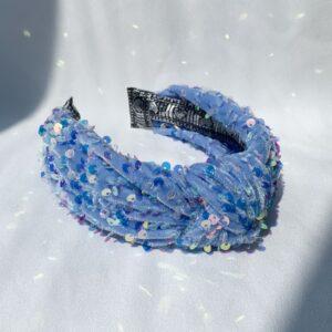 Lila Blue Sequin Turban Headband