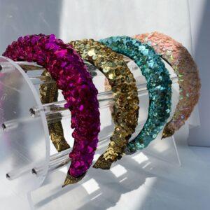 Lila Padded Sequin Headbands