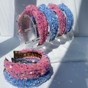 Lila Pink & Blue Turban Headbands