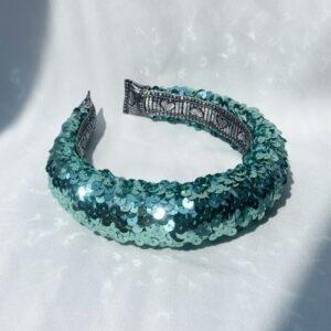 Lila Turqoise Sequin Padded Headband