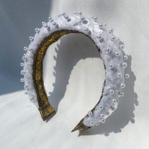 Lila White Pearl Padded Headband