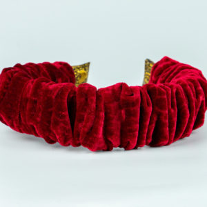 Lila Red Velvet Ruffle Headband