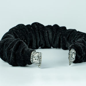 Lila Black Velvet Ruffle Headband