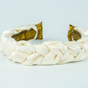 Lila Ivory Satin Plaited Headband